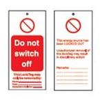 Бирка предупреждающая Brady, «do not operate. do not remove this lock. it is here to protect my life.», 50x110 мм, 10 шт