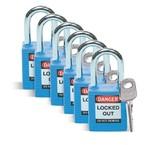 Замок безопасности стандартный Brady brady,стандартный,корпус,стальная дужка,цвет в упаковке, синий, 6,5 мм, 38 мм, Нейлон, Химически инертен, Электроизолированная личина, 1, 6 шт