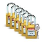 Замок безопасности стандартный Brady brady,стандартный,корпус,стальная дужка,цвет, желтый, 6,5 мм, 38 мм, Нейлон, Химически инертен, Электроизолированная личина, 1