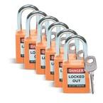 Замок безопасности стандартный Brady brady,стандартный,корпус,стальная дужка,цвет, оранжевый, 6,5 мм, 38 мм, Нейлон, Химически инертен, Электроизолированная личина, 1