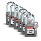 Замки компактные блокирующие Brady дужка, синий, 4,7 мм, 38 мм, Алюминий, Химически инертен, Электроизолированная личина, 1, 6 шт