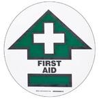 """Наполная самоклеющаяся табличка с надписью """"FIRST AID"""", материал В-534, цвет черный и зеленый на белом, диаметр 431,8 мм"""
