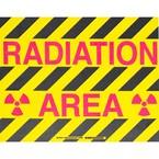 """Наполная самоклеющаяся табличка с надписью """"Radiation Area"""", материал В-534, цвет черный и маджента на желтом, размер 355,6 мм"""