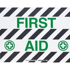 """Наполная самоклеющаяся табличка с надписью """"FIRST AID """", материал В-534, цвет черный и зеленый на белом, размер 355,6 мм"""