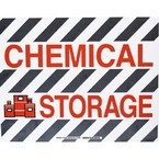 """Наполная самоклеющаяся табличка с надписью """"Chemical Storage"""", материал В-534, цвет черный и красный на белом, размер 355,6 мм"""