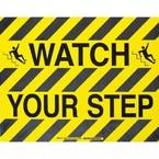 """Наполная самоклеющаяся табличка с надписью """"Watch Your Step"""", материал В-534, цвет черный на желтом, размер 355,6 мм"""