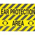 """Наполная самоклеющаяся табличка с надписью """"Ear Protection Area"""", материал В-534, цвет черный на желтом, размер 355,6 мм"""