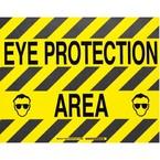 """Наполная самоклеющаяся табличка с надписью """"Eye Protection Area"""", материал В-534, цвет черный на желтом, размер 355,6 мм"""