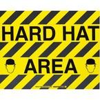 """Наполная самоклеющаяся табличка с надписью """"Hard Hat Area"""", материал В-534, цвет черный на желтом, размер 355,6 мм"""