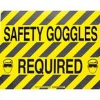 """Наполная самоклеющаяся табличка с надписью """"Safety Goggles required"""", материал В-534, цвет черный на желтом, размер 355,6 мм"""