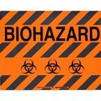 """Наполная самоклеющаяся табличка с надписью """"Biohazard"""", материал В-534, черный на оранжевом, размер 355,6 × 457,2 мм"""
