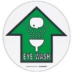 """Наполная самоклеющаяся табличка с надписью """"EYE WASH"""", материал В-534, цвет черный и зеленый на белом, диаметр 431,8 мм"""