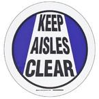 """Наполная самоклеющаяся табличка с надписью """"Keep Aisles Clear"""", материал В-534, цвет черный и синий на белом, диаметр 431,8 мм"""