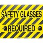 """Наполная самоклеющаяся табличка с надписью """"Safety Glasses Required"""", материал В-534, цвет черный на желтом, размер 355,6 мм"""