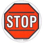 """Наполная самоклеющаяся табличка с надписью """"Stop"""", материал В-534, цвет черный и красный на белом, диаметр 431,8 мм"""