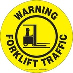 """Наполная самоклеющаяся табличка с надписью """"Warning Forklift Traffic"""", материал В-534, цвет черный на желтом, диаметр 431,8 мм"""