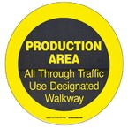 """Наполная самоклеющаяся табличка с надписью """"Production Area"""", материал В-534, цвет черный на желтом, диаметр 431,8 мм"""