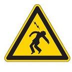 """Предупреждающий знак безопасности Brady PIC 320 """"Поражение электрическим током и молнией """", B-7541 ламинированный полиэстер, 50 мм, 250 шт. в рулоне"""