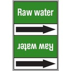 Ленты самоклеящиеся Brady двухцветные с текстом и стрелкой направления потока, коричневый на зеленом, «sanitary sea water», 127x33000 мм, b-7541
