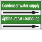 Стрелка для маркировки трубопровода Brady, белый на зеленом, 25-27 мм, «decarbonatized water», 26x200 мм, b-7529, 3 шт, 12,5 мм