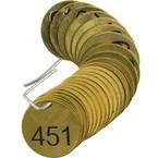 Бирки для маркировки клапанов пронумерованные Brady 451-475, 38 мм, латунь, 25 шт