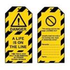 Лента преграждающая Brady на 1, красном,черная, 75x250000 мм, Полиэтилен, «danger asbestos», Рулон