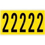 Цифра 2 Brady 2,25 карт, черный на желтом, 5 шт, 44x127 мм, Нейлон, b-499