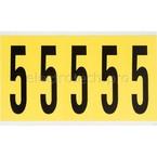 Цифра 5 Brady 5,25 карт, черный на желтом, 5 шт, 44x127 мм, Нейлон, b-499