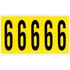 Цифра 6 Brady 6,25 карт, черный на желтом, 5 шт, 44x127 мм, Нейлон, b-499