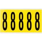 Цифра 8 Brady 8,25 карт, черный на желтом, 5 шт, 44x127 мм, Нейлон, b-499