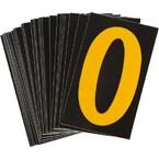 Цифра 0 светоотражающая Brady, желтый на черном, 42x72 мм, b-946, Винил, 25 шт.
