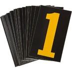 Цифра 1 светоотражающая Brady, желтый на черном, 42x72 мм, b-946, Винил, 25 шт.