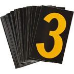 Цифра 3 светоотражающая Brady, желтый на черном, 42x72 мм, b-946, Винил, 25 шт.