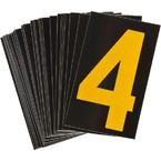 Цифра 4 светоотражающая Brady, желтый на черном, 42x72 мм, b-946, Винил, 25 шт.