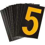 Цифра 5 светоотражающая Brady, желтый на черном, 42x72 мм, b-946, Винил, 25 шт.