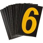 Цифра 6 светоотражающая Brady, желтый на черном, 42x72 мм, b-946, Винил, 25 шт.