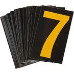 Цифра 7 светоотражающая Brady, желтый на черном, 42x72 мм, b-946, Винил, 25 шт.