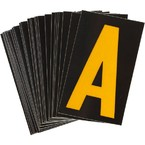 Буква A светоотражающая Brady, желтый на черном, 42x72 мм, b-946, Винил, 25 шт.