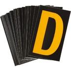 Буква D светоотражающая Brady, желтый на черном, 42x72 мм, b-946, Винил, 25 шт.