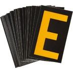 Буква E светоотражающая Brady, желтый на черном, 42x72 мм, b-946, Винил, 25 шт.