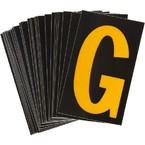 Буква G светоотражающая Brady, желтый на черном, 42x72 мм, b-946, Винил, 25 шт.