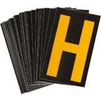 Буква H светоотражающая Brady, желтый на черном, 42x72 мм, b-946, Винил, 25 шт.