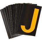 Буква J светоотражающая Brady, желтый на черном, 42x72 мм, b-946, Винил, 25 шт.