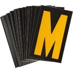 Буква M светоотражающая Brady, желтый на черном, 42x72 мм, b-946, Винил, 25 шт.
