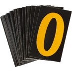 Буква O светоотражающая Brady, желтый на черном, 42x72 мм, b-946, Винил, 25 шт.