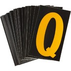 Буква Q светоотражающая Brady, желтый на черном, 42x72 мм, b-946, Винил, 25 шт.