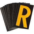 Буква R светоотражающая Brady, желтый на черном, 42x72 мм, b-946, Винил, 25 шт.