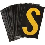 Буква S светоотражающая Brady, желтый на черном, 42x72 мм, b-946, Винил, 25 шт.