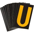 Буква U светоотражающая Brady, желтый на черном, 42x72 мм, b-946, Винил, 25 шт.