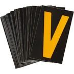 Буква V светоотражающая Brady, желтый на черном, 42x72 мм, b-946, Винил, 25 шт.